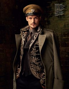 ♂ Masculine & elegance - military inspired looks. Embroidered jacket by Dolce & Gabbana, long overcoat by Canali, shirt by Prada, tie, waistcoat and trousers by Alexander McQueen