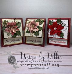Merry Christmas, Christmas Poinsettia, Stampin Up Christmas, Christmas Cards To Make, Xmas Cards, Poinsettia Cards, Stamping Up Cards, Greeting Cards Handmade, Homemade Cards
