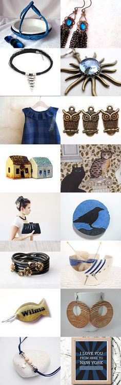 Fall Roundup by Julia on Etsy--#Etsy #treasury #blue #pie #caddy #trendy #Fibernique #bluebird #owl #sapphire #blue Pinned with TreasuryPin.com