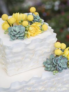 Sugar Succulents Mums and Billy Balls on a Wedding Cake - Succulents and Sunshine