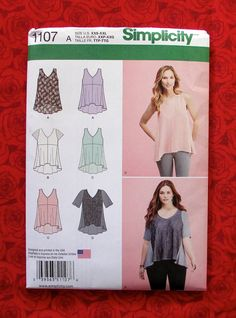 Simplicity Sewing Pattern 1107 Loose Fitting Tops Hi Lo