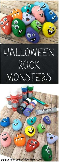 I pulled together an incredible collection of easy Halloween craft ideas for kids. Here is a list of our favorite Halloween crafts. Also Read 20 CUTE DIY HALLOWEEN KIDS CRAFTS Wooden. Theme Halloween, Fun Halloween Crafts, Halloween Rocks, Halloween Tags, Fun Crafts For Kids, Toddler Crafts, Fall Crafts, Holiday Crafts, Holiday Fun