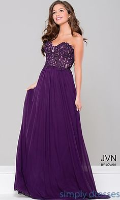 Lace Bodice Long Strapless Prom Dress d832ceb29