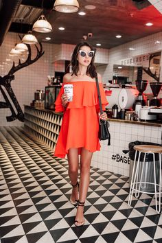 Cute casual look - off the shoulder dress & strappy sandals