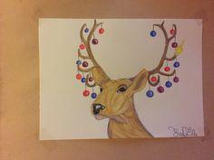 #deer #drawing #watercolor #Christmas #art