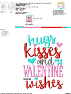 Embroidery design 5x7 6x10 Hugs & kisses and by SoCuteAppliques