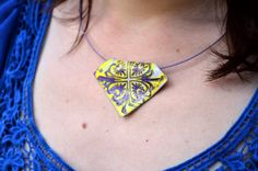 Polymer clay stamped pendant yellow and by AbandonedAtticCrafts, $11.00