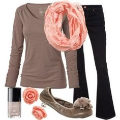 Teacher Outfits on a Teachers Budget  Polyvore.  Long sleeve T, scarf, flats, and black pants.