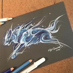 """Wolf Patronus Another drawing from my Patronus series. This month's Patreon theme is Patruses! This will be fun #art #drawing #wolf #Patronus…"""