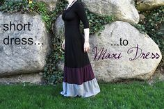 DIY: Turn a short dress into a maxi dress #sewing #dress