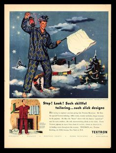 ORIGINAL 1947 TEXTRON MEN'S PAJAMAS & BOXER SHORTS CHRISTMAS TRAIN ART PRINT AD  #TEXTRON