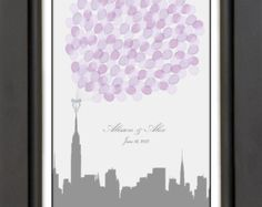 Modern City Skyline Wedding Guest Book Alternative - Choose Any City - Balloons sign in, unique Keepsake / Wedding Gift