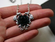 Black Rose Necklace Gothic Steampunk Necklace by robinhoodcouture