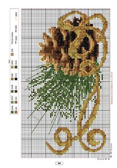 Pinecone cross x stitch, or bead CHART