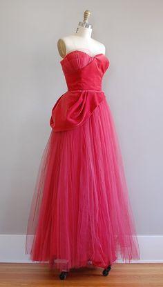 the red dress. velvet. tulle. strapless. vintage. stunning.
