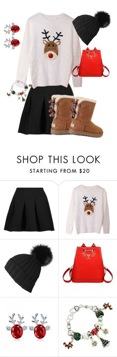 """""""Christmas sweater"""" by kiarakappa ❤ liked on Polyvore featuring T By Alexander Wang, Black, Charlotte Olympia and UGG"""