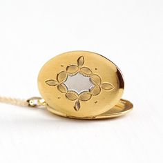 Vintage 12k Gold Filled Oval Locket Necklace - 1950s Mid Century Floral Etched Silver Two Tone Pendant Picture Photograph Jewelry , H.F.B.