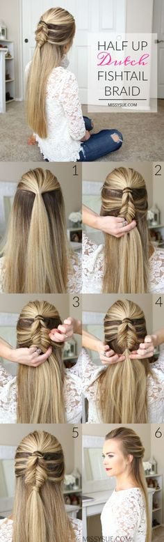Half-up dutch fishtail braid hairstyle tutorial:                                                                                                                                                                                 More