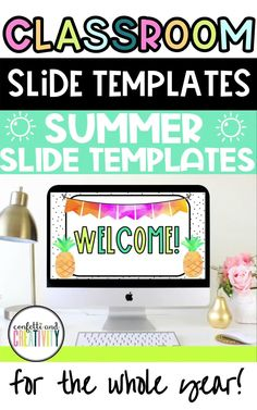 """Teachers, stop scrolling! Get all of your classroom Holiday Google Slides for the rest of the year here! From """"Back to School"""" to """"Summer,"""" stay festive with these bright and beautiful Holiday Slide Templates for your classroom. #classroomslides #googleslidetemplates #holidayclassroom #classroomdecor #distancelearning High School Classroom, Classroom Walls, Homeschool High School, Classroom Design, Kindergarten Classroom, Classroom Themes, Meet The Teacher Template, Center Rotations, Inspired Learning"""