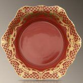 L'Objet Alencon Red Soup Plate 8.5 in Rd by L'Objet. $126.00. Based on the pattern of world-famous Alencon lace, this dinnerware set is a feast of rich color and dainty pattern. Hand-made from Limoges porcelain, each plate is edged with 24 kt gold or platinum. Five-piece settings include dinner plate, dessert plate, bread/butter plate, mug, and saucer. Material: Limoges Porcelain Care: Dishwasher safe on the gentle cycle, with a mild detergent that does not contai...