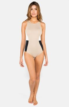 be0db5ffac047 DKNY  Metro  Colorblock High Neck Maillot... Maybe in a different color.  Fun One Piece SwimsuitOne ...