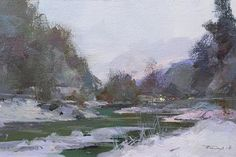 Gift for Him Small Painting Landscape Winter Abstract Oil