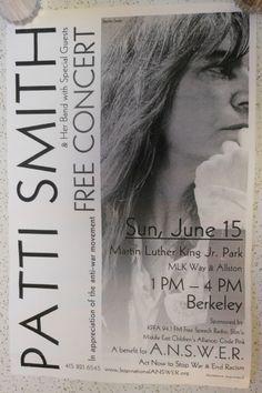 Patti Smith Poster Berkeley California 2003 Free Concert 11 Inches X 17 Inches Berkeley California, Free Concerts, Patti Smith, Rock Posters, Martin Luther King, Paper, Music, Musica, Musik