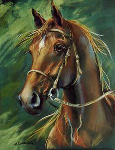 Champion, Kasztan na zielonym tle, rysunek konie, pastel