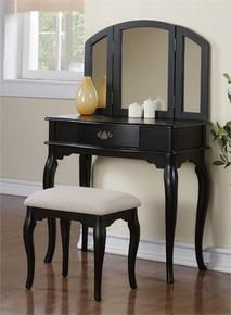 Black Makeup Vanity Table w/ Bench