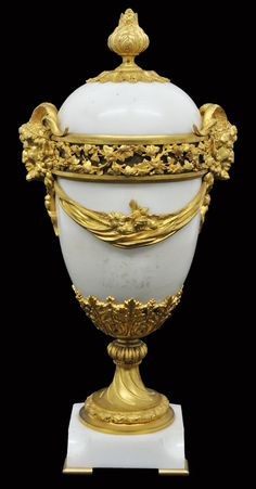 French Bronze Dore mounted marble lidded urn, 19th Century
