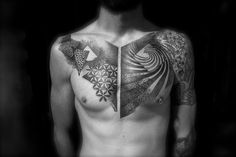 Abstract, black and white, dotwork, geometric, chest tattoo on TattooChief.com