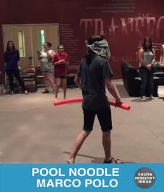 Use a pool noodle and blind fold to play Marco Polo on dry land. Youth Ministry Ideas and Games.