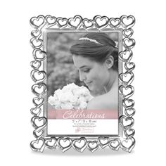 Timeless Frames 48202 Silver Hearts Crystal Detail Wedding Tabletop Picture Frame
