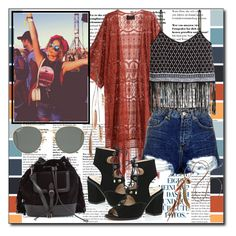 """""""Coachella"""" by ana-a-m ❤ liked on Polyvore featuring H&M, Topshop, River Island and Ray-Ban"""