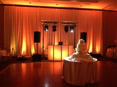 DJ set-up with pipe & drape and #uplighting at the #Bertram. Contact your #wedding coordinator to find out how you can replicate this #design. (330) 995-7606