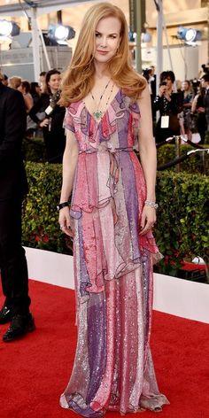 Nicole Kidman in sparkling Gucci at the 2016 SAG Awards Celebrity Red Carpet, Celebrity Dresses, Celebrity Style, Nicole Kidman, Divas, Oscar Dresses, Club Dresses, Party Dresses, Formal Dresses