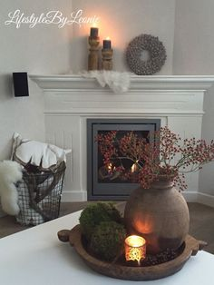 – Margreet Kaptijn - Coby Schut - Re-Dekoration Diy Fireplace, Living Room With Fireplace, My Living Room, Home And Living, Romantic Home Decor, Cute Home Decor, Fall Home Decor, Decorating Your Home, Interior Decorating