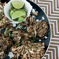 In this simple vegetarian- and vegan-friendly dish, big, meaty hen-of-the-woods mushrooms (maitake) are grilled until crisp outside and moist within.