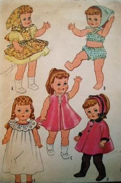 "Vtg 1960s DOLL PATTERN McCalls 2466 12-13"" Clothes Ruthie Patsy Ann++"