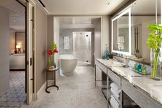 After a day out and about in #SanFrancisco, return to this spa-like bathroom for a soak in the tub to relax & re-energize at Mandarin Oriental, San Francisco!