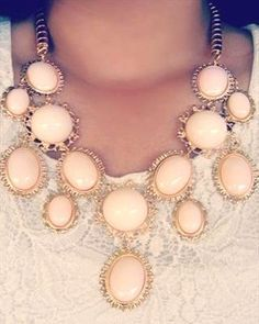 pastel peach necklace, Unique and special statement necklaces http://www.justtrendygirls.com/unique-and-special-statement-necklaces/
