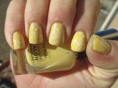 Day 3 of the 31 day Nail Polish Challenge - Yellow Nails Sally Hansen - 420 Yellow Kitty Konad - White Special Polish  Nail Polish = Nail Art!