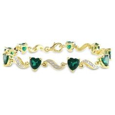 """Yellow Gold Plated Sterling Silver Created Emerald and Diamond Bracelet (.02 cttw, H-I Color, I3 Clarity), 7"""""""