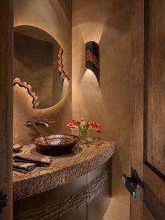 Delicate Modern Interior Decorated by Earth Elements : Astonishing Southwest Contemporary Powder Room Unique Wall Mirror