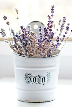 lavender in a vintage soda container...