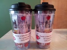 """End of the Year Teacher Gift. I put together these mugs filled with instant Starbucks coffee and a note that says """"Thanks a Latte"""" for my sons' 1st and 4th grade teachers to show my appreciation for a great school year."""