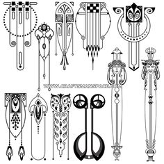 Collection of hand traced Art nouveau designs. These Art nouveau vector designs are available in dwg, eps, and svg formats. Motifs Art Nouveau, Design Art Nouveau, Motif Art Deco, Art Nouveau Pattern, Bijoux Art Nouveau, Art Nouveau Tattoo, Tattoo Painting, Tattoo Art, Jugendstil Design