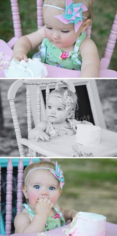 LOVE the pinwheel hairbow! Soooo going to make for baby girl! 1st Birthday Cake Smash, Girl Birthday, Toddler Pictures, Cake Smash Photography, Baby Poses, Cake Smash Photos, Diy Hair Accessories, Baby Sewing, Children Photography