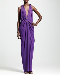 Plunging+Draped+Evening+Gown,+Purple+by+Lanvin+at+Neiman+Marcus.