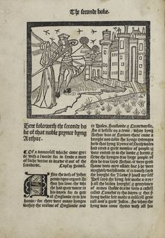 Image from Le Morte d'Arthur by Thomas Malory, printed by Wynkyn de Worde in 1498. 15396. Held at The John Rylands Library in Manchester
